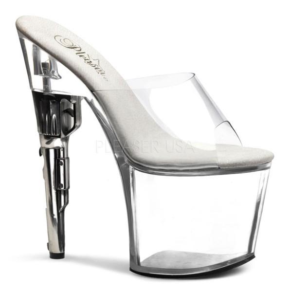 SALE! PleaserUSA Damen Gogo-Platform Revolver High Heels Bondgirl-701 klar/klar